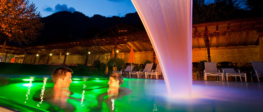 Romantik-Hotel Böglerhof, Alpebach, Austria - outdoor pool at night.jpg